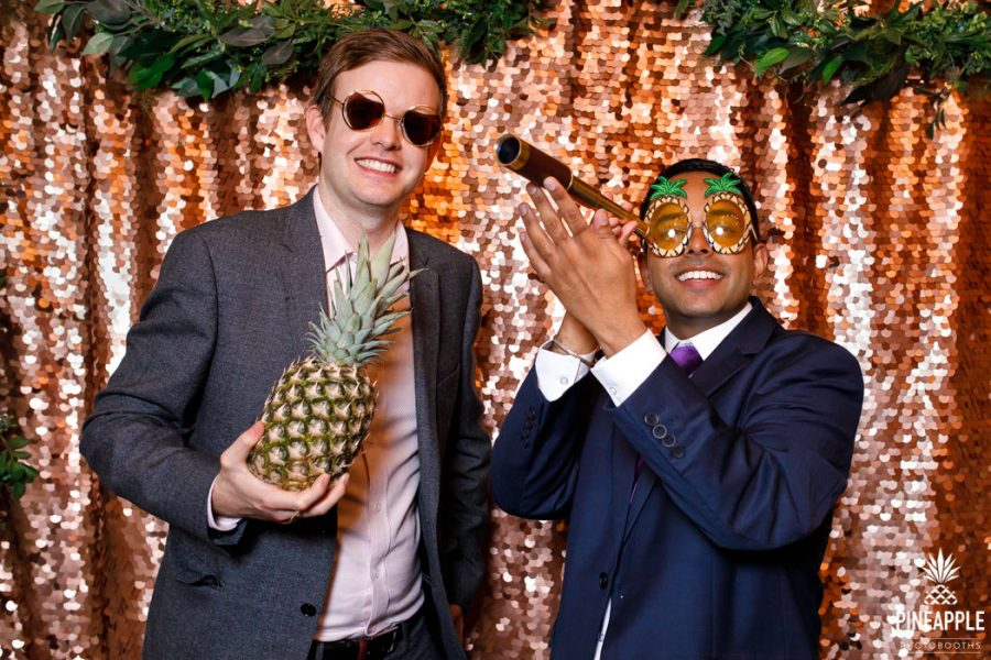 quirky photo booth props real pineapple and telescope