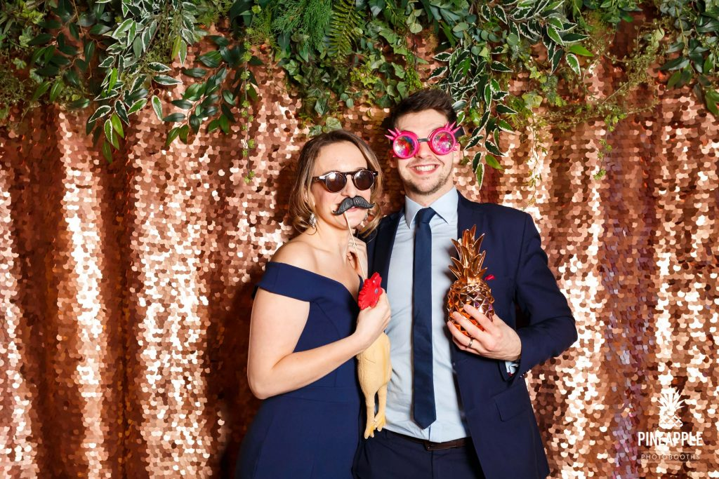 photo booth hire rise gold backdrop